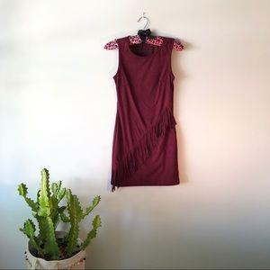 90s Maroon Suede Sleeveless Fringe Mini Dress